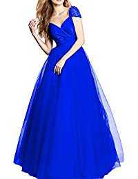 Womens Beaded Long Evening Prom Dresses Formal Gown Plus Size V Neck D239