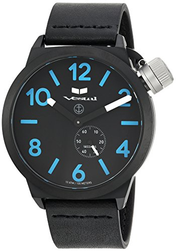 Vestal Quartz Stainless Steel and Leather Dress Watch, Color:Black (Model: CNT453L08.BK)