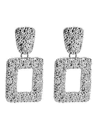 WSQJPER888 Fashion Earrings Sweet and Lovely Rectangular Alloy Personality Temperament Office Travel Wedding Gold and Silver Simple Earrings Ear Jewelry (Color : Silver)