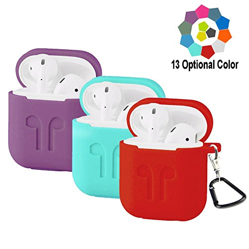 Budesi Shock Proof Protective Silicone Case Cover Waterproof Shock Resistant Case with Keychain Compatible with Apple AirPods