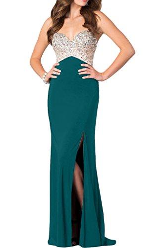 Abendkleid Promkleid Strasssteine Hochwertig Partykleid Schlitz Spaghetti Blaugruen Ivydressing Damen X0qECxxR