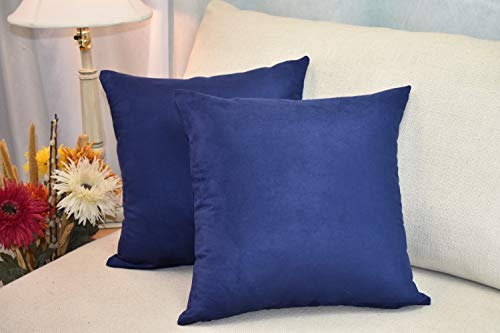 MoonRest Pack of 2- Faux Suede Square Decorative Throw Pillow Covers Sofa sham Solid Colors Cushion Pillowcases (20 x 20 Navy)