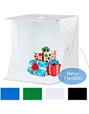 "Amzdeal Photo Studio - Portable Photo Studio 16""x16""/40x40cm LightBox Foldable Shooting Tent Updated Fixed Button and Metal with LED Strip + 4 Background (Black/White/Blue/Green)"