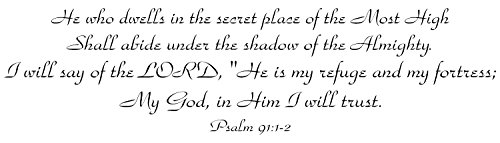 Bible Verses Wall Decals: Psalm 91 Wall Decal - Made in the USA from Vinyl! This is One of Our Most Popular Quotes Wall Decals! - BLACK