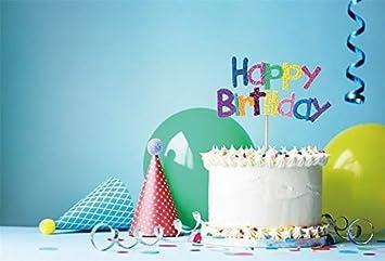 EdCott 7x5ft Vinilo Azul Telón de Fondo Feliz cumpleaños ...