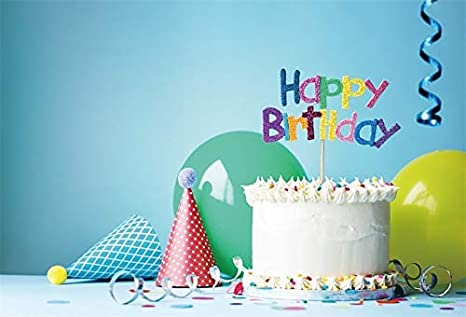 EdCott 6x4ft Vinilo Azul Telón de Fondo Feliz cumpleaños ...