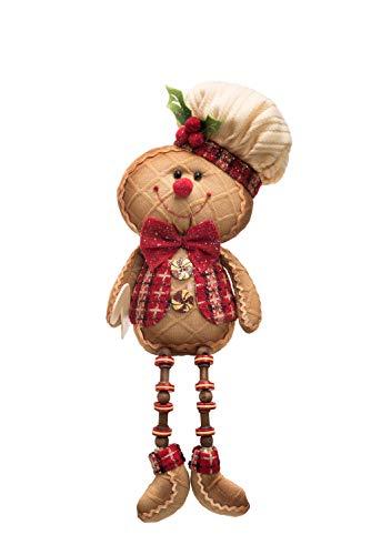 Transpac Imports D0736 Plush Glitter Gingerbread Shelf Sitter Decor, Brown ()