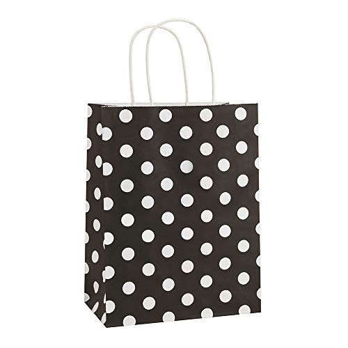 Black And White Gift Bags (Gift Bags 25Pcs 8x4.75x10.5 Inches BagDream Shopping Bags, Paper Bags, Kraft Bags, Retail Bags, Holiday Party Bags, Black Dot Paper Bags with Handles, Black Gift)