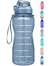 Fidus Large Half Gallon/64oz Motivational Water Bottle with Time Marker & Straw,Leakproof Tritan BPA Free Water Jug,Ensure You Drink Enough Water Daily for Fitness,Gym and Outdoor Sports-Gray