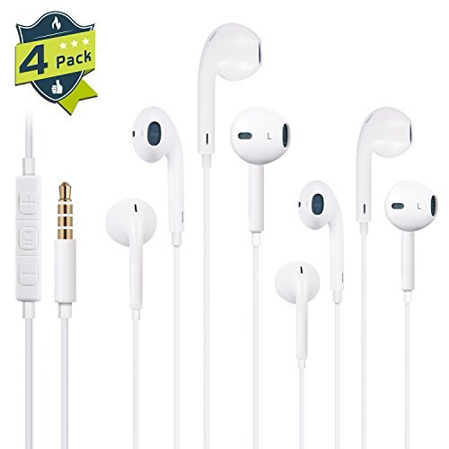 Musicool Headphones, 4PACK Premium Quality Earphones Earbuds with Mic & Remote Control Compatible with iPhone SE, 6, 6s, 6 Plus, 6s plus, iPhone 5s 5c 5, iPad /iPod (White)