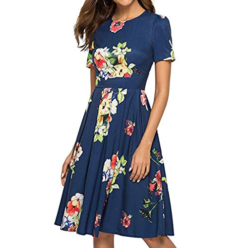 Women Dresses Casual Party with Flowers Hosamtel Floral Print Short Sleeve Summer Elegant Loose Fit Cocktail Midi -