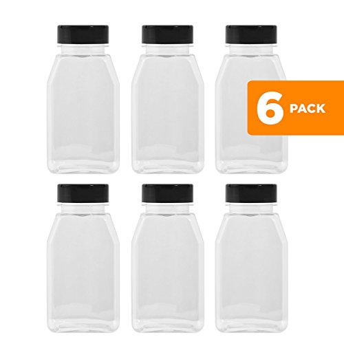 LARGE 16OZ CLEAR PLASTIC SPICE CONTAINERS BOTTLE JARS - FLAP CAP TO POUR OR SIFTER SHAKER. USED TO STORE SPICES, HERBS AND IS REFILLABLE-BPA FREE (6, black caps) Spice Dispenser