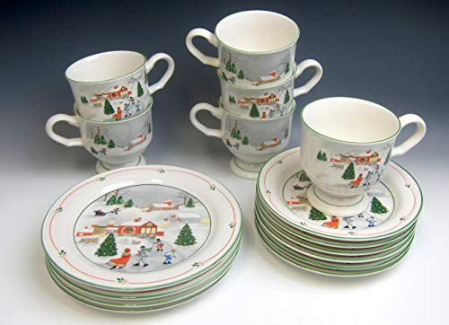Lot of 16 Sango China SILENT NIGHT CHRISTMAS Cup and Saucer, Plates VG