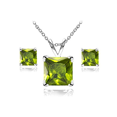 GemStar USA Sterling Silver Peridot Square Solitaire Necklace and Stud Earrings Set