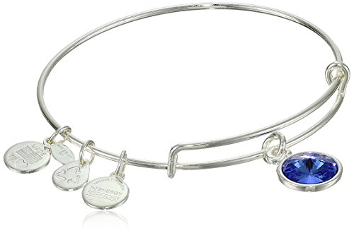 "Alex and Ani ""Bangle Bar"" September Birth Month Shiny-Silver Tone Expandable Bracelet"