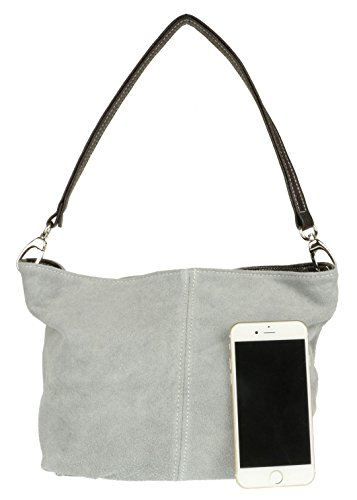 Womens Shoulder Bag Craze Grey Genuine Tote Handbag New Leather Suede London 7xqSfR