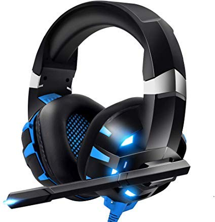 RUNMUS Gaming Headset PS4 Headset, Cutting-Edge 7.1 Surround Sound Stereo Pro Xbox One Headset, Noise Cancelling Mic, Soft Memory Earmuff, Compatible for PS4, Xbox One, PC, Mac, Nintendo Switch (Best Parking For Raiders Games)