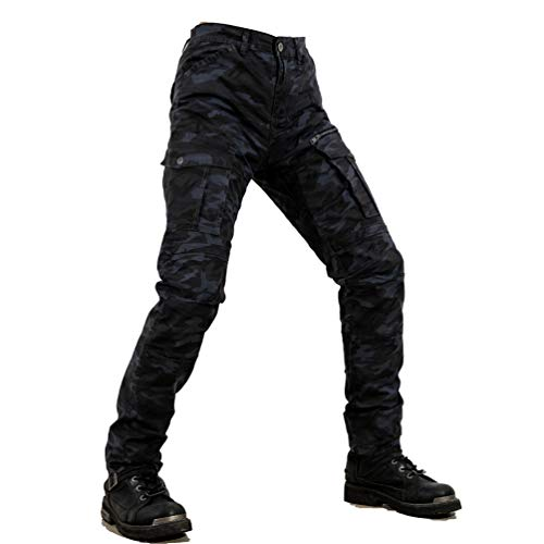 Ketamyy Motorrad Hose Jeans Outdoor Protektoren Motorradjeans Camouflage Winddicht Slim Fit Langlebig Fallfeste…