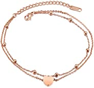 Stainless Steel Heart Love Charm Wrist Link Chain Delicate Bracelet in Rose Gold Love Heart Adjustable Chain A