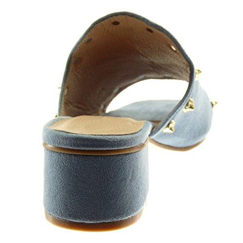 Angkorly Damen Schuhe Mule - Slip-On - Nieten - Besetzt - Golden Blockabsatz High Heel 5 cm Blau