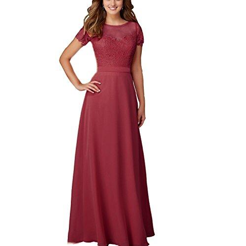 Spitze 42 lang weinrot Damen Chiffon Brautjungferkleid Kleid Abendkleid Gr ABaowedding UHOgn4w
