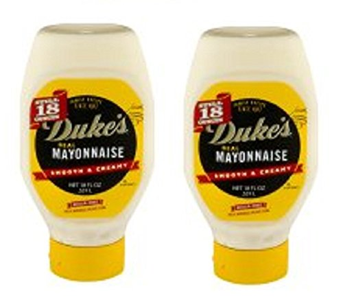 Smooth & Creamy, Duke's Real Mayonnaise, 18.0 FL OZ ( Pack of 2) Sugar Free by Dukes