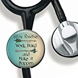 Stay Positive,Work Hard and Make it Happen-Inspirational Quote Stethoscope Tag Personalized,Nurse Doctor Stethoscope ID Tag Customized, Medical Stethoscope Name Tag with Writable Surface-Black