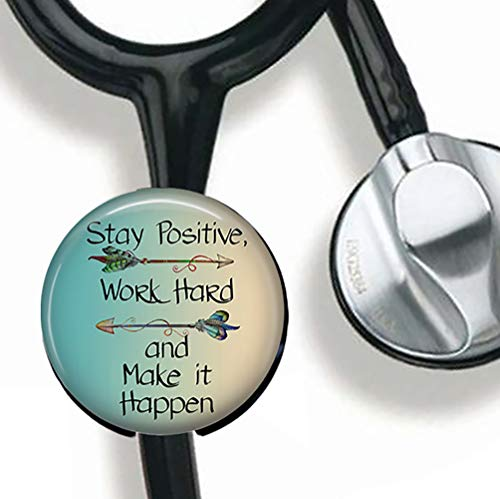(Stay Positive,Work Hard and Make it Happen-Inspirational Quote Stethoscope Tag Personalized,Nurse Doctor Stethoscope ID Tag Customized, Medical Stethoscope Name Tag with Writable Surface-Black)