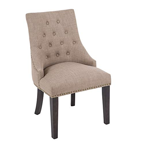 DAGONHIL Fabric Dining/Accent Chairs (Set of 2),Nailed Trim (Tan)