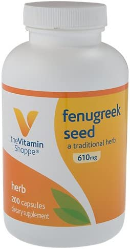 The Vitamin Shoppe Fenugreek Seed 610MG, Supports Blood Sugar Already Within The Normal Range (200 Capsules)