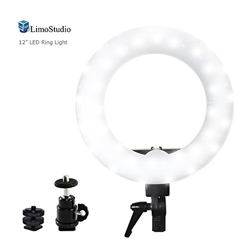 LED Ring Light, 5600K, Dimmable, Camera Mount Screw Nut Adap