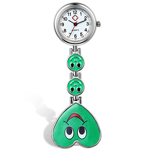 Nurse Watch Candy Color Smile Heart Face Clip-on Lapel Paramedic Tunic Hanging Medical Doctor Fob Clasp Watch - - Watch Chain Lapel