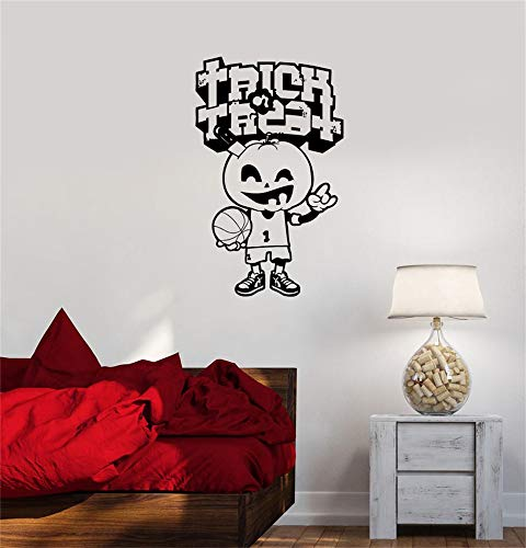 fuchro Lettering Words Wall Mural DIY Removable Sticker Decoration Halloween Merry Pumpkin Basketball Game Player ()