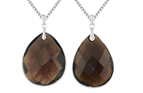 Sterling Silver Natural Smokey Quartz Large Teardrop Shaped Gemstone Pendant Necklace 24