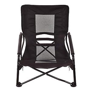 YourYard Outdoor High Back Folding Beach Chair Camping Furniture Portable Mesh Seat Black