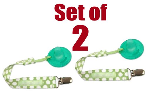 PaciGrip - Universal Pacifier Holder with Clip, that is compatible with all types of pacifiers,Delicate Dot Green, ()