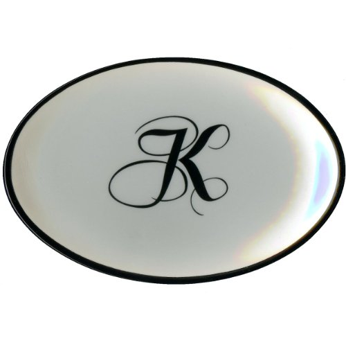 Letter K - Mud Pie Monogram Initial Coin Holder or Soap Dish 257310 5.5x3.75x.75