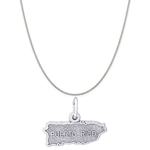 Rembrandt Charms Sterling Silver Puerto Rico Map Charm on a Sterling Silver Box Chain Necklace, 20