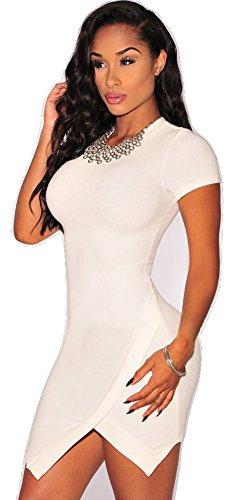 Nuevo señoras blancas asimétrico dobladillo corto manga Bodycon Mini vestido Club Wear fiesta vestido de verano