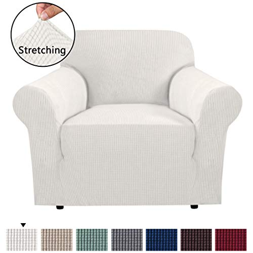 H.VERSAILTEX Durable Soft High Stretch Sofa Slipcover 1 Piece Ivory Couch Covers Lycra Furniture Protector Couch Cover Machine Washable Spandex Sofa Covers, Form Fitted 1 Seater Sofa Chair ()