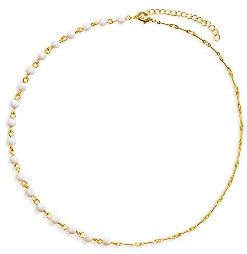 Choker Necklace: Opal Choker White Opal Beads 14K Gold Beaded Choker Necklace for Women Unique Design (13