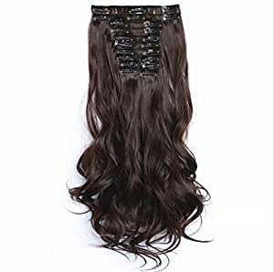 Beautiful soft fluffy 12pcs long curly Hair Extension 60cm wig for women XW1208-20