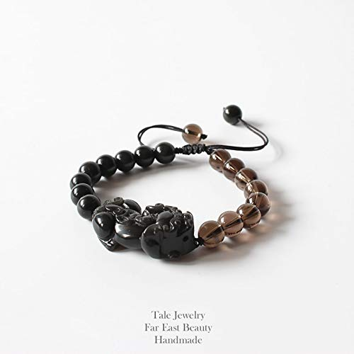 (Men's Chinese Traditional Dragon Black Obsidian with Smoky Crystal Beads Bracelets | Lucky Jewelry | Adjustable Size)