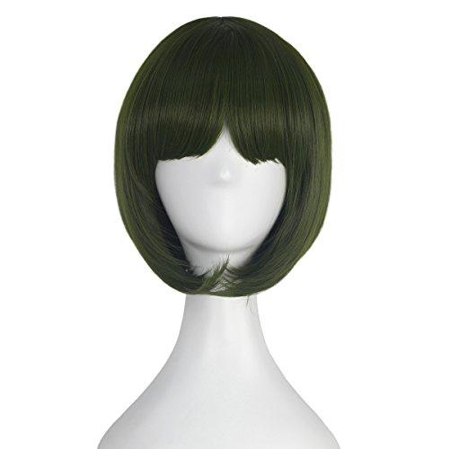 Girl's Short Straight Bob Style Hair Harajuku Lolita Punk Wig Anime Cosplay Costume Wig Party Halloween (Green)]()