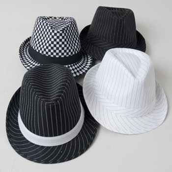 - HAT FEDORA STRIPED/CHECKERED BLACK AND WHITE 4AST DESIGNS, Case Pack of 24
