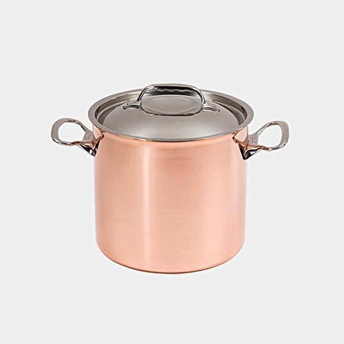 De Buyer Professional 20 cm Inocuivre Copper Stockpot with Cast Stainless Steel Handles and Lid 6444.20