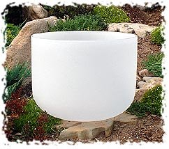 """10"""" Classic Frosted Crystal Singing Bowl - G# Note (Throat Chakra)"""