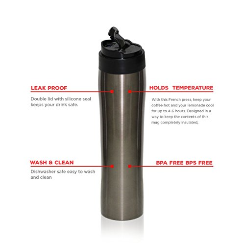 Equaliteria Portable Stainless Steel French Press 16 Oz