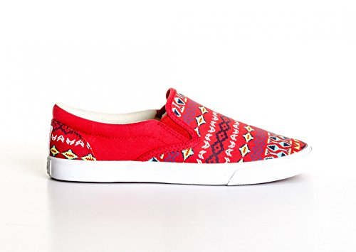 Bucketfeet Mujeres Vermillion Slip On Sneakers Red