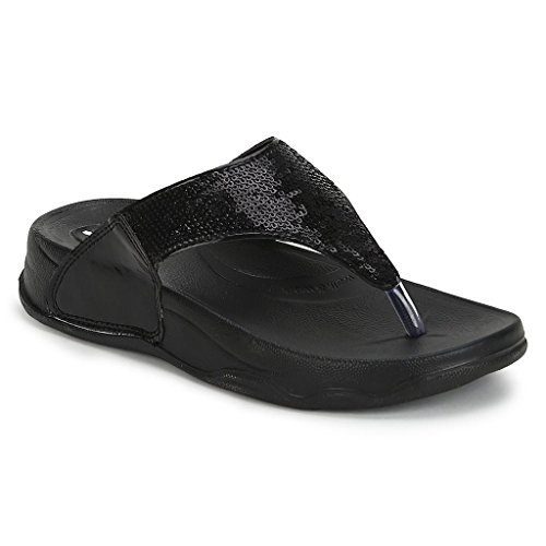 d6a9887989b363 WELCOME Women s Black Leather Flip-Flops-6 UK India (39 EU)  (1BlackHF-06 6)  Buy Online at Low Prices in India - Amazon.in